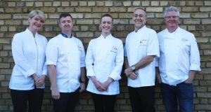 Winning chef Gráinne Mullins, centre, with (l. to r.) judges Margot Janse, Gareth Mullins, Michel Roux junior and Paul Flynn