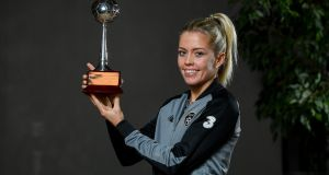 Denise O'Sullivan with the 2019 PFA Ireland women's senior International Player of the Year award at The Marker Hotel in Dublin. Photograph:  Seb Daly/Sportsfile