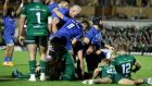 Ronan Kelleher scores his second try for Leinster  against Connacht at the Sportsgraound. Photograph: Dan Sheridan/Inpho