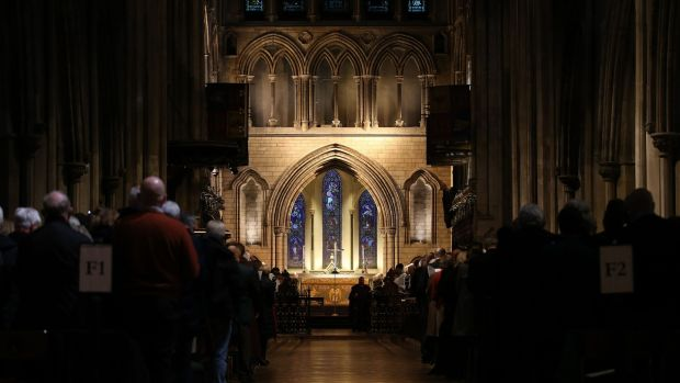 The service at St Patrick's Cathedral, Dublin, was conducted to mark the 101st anniversary of the armistice that ended the first World War, but also the 80th anniversary of the start of the second. Photograph: Nick Bradshaw