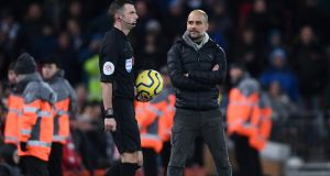 Seething: Pep Guardiola. Photograph: Laurence Griffiths/Getty