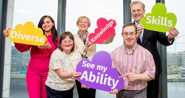 Pictured at the launch of the ability to work fund are Ailbhe Keane, a board member of SIFI, Lisa Cox, a member of Blue Diamond Drama Academy,  Regina Doherty, Minister for Employment Affairs & Social Protection, Daniel Ryan, member of Blue Diamond Drama Academy and Tadhg Young, Senior vie president at State Street. Photograph: Conor Healy/Picture It Photography