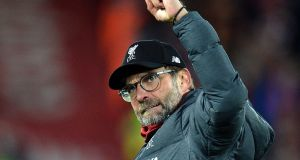 Liverpool manager Jürgen Klopp reacts after   his side's victory over Manchester City at Anfield, which is what made one Irish Times reader happy this week. Photograph: EPA