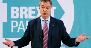 Brexit Party leader Nigel Farage annoucnes he is standing down more than half the party's candidates in the UK general election in a speech in Hartlepool on Monday. Photograph: Ian Forsyth/Getty Images