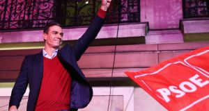 Spain's acting prime minister and Socialist Party leader Pedro Sánchez reacts to supporters during Spain's general election at party headquarters in Madrid on Sunday. Photograph: Sergio Perez/Reuters