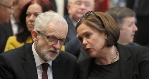 Jeremy Corbyn and Sinn Féin party leader Mary Lou McDonald. Photograph: Brian Lawless/AFP via Getty
