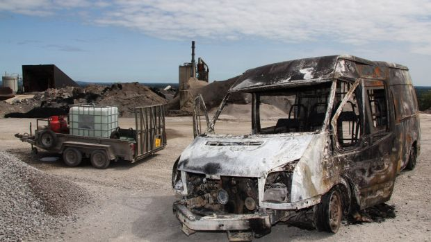 One of the burnt out vandalised vehicles at the tarmac plant in Ballyconnell, Co Cavan taken on 24th July. Photograph: Lorraine Teevan