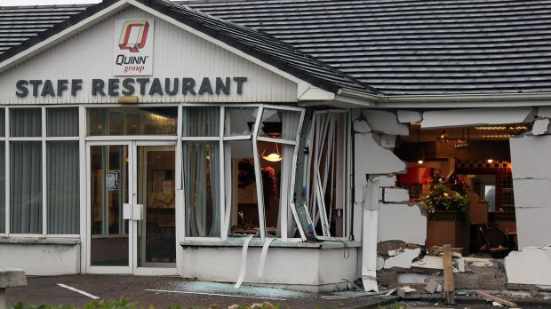 The extensive damage caused by a burnt out truck at the staff restaurant opposite the Quinn Group HQ in Derrylin, Co. Fermanagh. Photograph: Lorraine Teevan