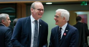 Tánaiste Simon Coveney (left) with Polish Foreign Minister Jacek Czaputowicz during a joint European Foreign Affairs Council in Brussels on Monday. Photograph: Olivier Hoslet/EPA