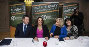 Sinn Féin leader Mary Lou McDonald (centre left) sits alongside deputy leader Michelle O'Neill (centre right), North Belfast candidate John Finucane  and Fermanagh and South Tyrone candidate Michelle Gildernew at   Sinn Féin's Westminster election launch on Monday in Belfast. Photograph:  Charles McQuillan/Getty Images