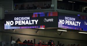 The VAR screen shows a 'no penalty' decision during the Premier League match at Anfield between  Liverpool and Manchester City. Photograph: Peter Byrne/PA Wire