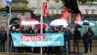 Siptu members in GoSafe protesting outside Leinster House earlier this month. Photograph: Sam Boal/Rollingnews.ie