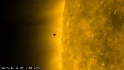 RARE SIGHTING: Mercury could be seen as a tiny black disc moving across the sun on Monday, starting just after 12.35pm. Photograph: Nasa/SDO/PA Wire