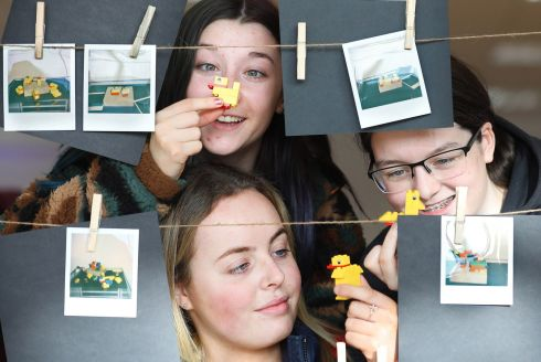 SCIENCE WEEK: Sophie Scattergood, Hannah Sheridan and Aoibhinn Maguire from Plunkett College Whitehall were asked to create their own duck with Lego at the We Are All Scientists pop-up exhibition at the CHQ Building, Dublin. The free exhibition asks visitors to take part in five creative experiments to see if they possess the key characteristics of a scientist. Photograph: Julien Behal