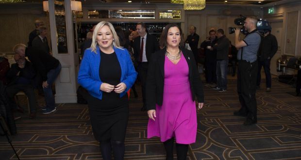 Sinn Féin leader Mary Lou McDonald (R) and deputy leader Michelle O'Neill at the party's election launch in Belfast. Photograph: Charles McQuillan/Getty Images