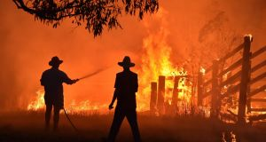 Residents defend a property from a bushfire at Hillsville near Taree,  north of Sydney. Photograph: Peter Parks/ AFP