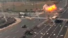 CCTV captures Gaza-fired rocket hitting Israeli highway
