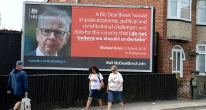 A Led By Donkeys billboard promoting Michael Gove's no-deal Brexit comments. Photograph: Finnbarr Webster/Getty