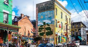 Colourful buildings of Randyland art museum in Mexican War Streets district in Pittsburgh's Northside. Pennsylvania, USA