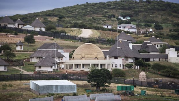 Homestead of former South African president Jacob Zuma in Nkandla: the taxpayer paid for renovations that included a swimming pool, cattle enclosure, chicken-run and amphitheatre. Photograph: Marco Longari/AFP