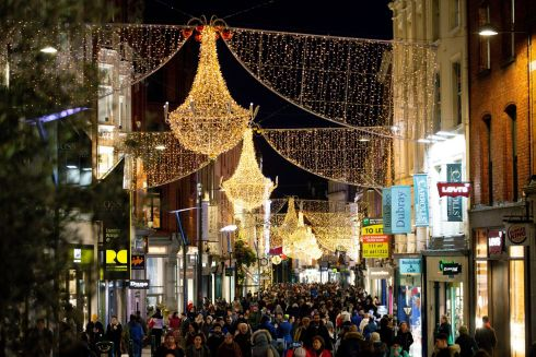 THE SEASON TO BE SHOPPING: A view of Christmas lights displayed above Grafton Street, Dublin. Photograph: Tom Honan