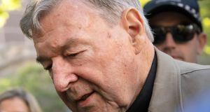 Cardinal George Pell arrives at the County Court in Melbourne in February ahead of his conviction for child abuse.  Photograph: Andy Brownbill/AP Photo