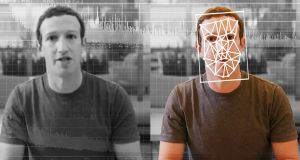 A comparison of an original and deepfake video of Facebook CEO Mark Zuckerberg. Photograph: Elyse Samuels/The Washington Post via Getty Images