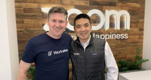 Workvivo chief executive John Goulding pictured with Zoom founder Eric Yuan