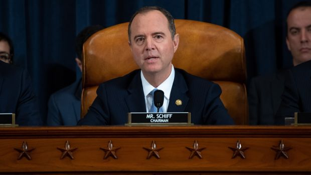 Chairman Adam Schiff gives an opening statement during the first public hearings in the impeachment inquiry. Photograph: Saul Loeb/EPA