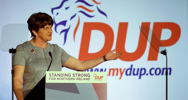 From the beginning to the end of holding the balance of power at Westminster, Arlene Foster's party kept its channels and options open with Jeremy Corbyn's party. Photograph: Paul Faith/AFP