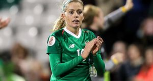 Denise O'Sullivan's form for Ireland, not least in the opening two games of their qualifying group when they beat Montenegro and Ukraine, earned her the Senior International Player of the Year award. Photograph:  Laszlo Geczo/Inpho