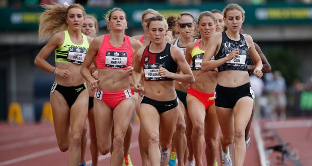 Hannah Fields, Heather Kampf, Shelby Houlihan and Mary Cain compete in the Women's 1,500 metre run final at the 2015 USA Outdoor Track & Field Championships in Eugene, Oregon. Photograph: Christian Petersen/Getty Images