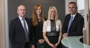 Donal Kellegher, Amy Lee and Helena Kelleher with  Quintain Ireland managing partner Michael Hynes. Photograph: Conor McCabe Photography