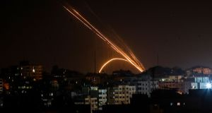 Rockets being fired from the Gaza Strip towards Israel on Wednesday. Photograph: Anas Baba/AFP/Getty Images