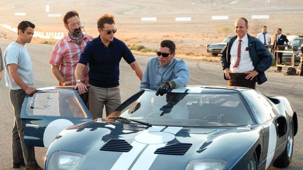 New this week: Matt Damon and Christian Bale (centre) in Le Mans '66