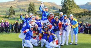 Europe celebrate their victory in the 2019 Solheim Cup at Gleneagles. Photograph: David Cannon/Getty