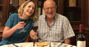 "Louise Molloy and her father in law Antonio Pintor enjoying a meal in family restarant Los Pinos ""which sums up what I love about Buenos Aires - family food and good wine!"""