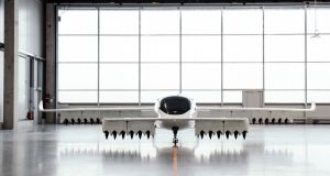 The Lilium prototype flying taxi in a hangar in Wessling, Germany. Photograph: Felix Schmitt/The New York Times