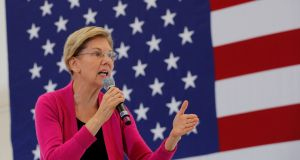 Democratic US presidential candidate Elizabeth Warren. Billionaire hedge fund manager Paul Tudor Jones has warned that the S&P 500 would sink 25 per cent if she wins the 2020 election. Photograph: Brian Snyder/Reuters