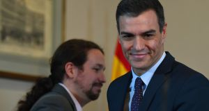 Podemos's Pablo Iglesias and incumbent prime minister Pedro Sanchez: the two will have a difficult job to persuade smaller groups, including radical Basque and Catalan nationalists, to let them form a government. Photograph: Gabriel Bouys