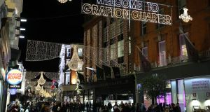 Christmas lights  turned on in Dublin's  Grafton Street earleir this week. Photograph Nick Bradshaw