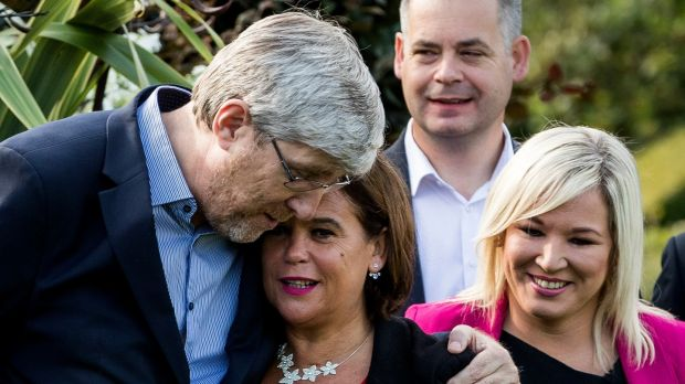 Sinn Féin's John O'Dowd (left) with leader Mary Lou McDonald, and deputy leader Michelle O'Neill. The very fact of O'Dowd's candidacy for vice-president indicates he has supporters. Photograph: Liam McBurney/PA Wire