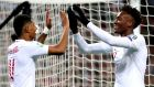 Marcus Rashford (left) and Tammy Abraham celebrate an England goal. Photo: Nick Potts/PA Wire.