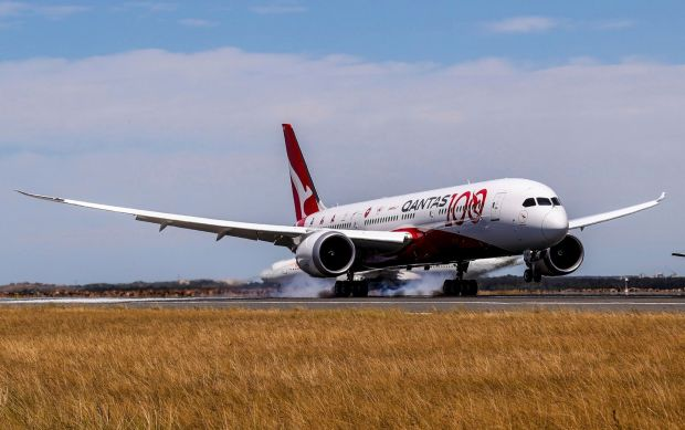 Qantas nonstop flight: the airline's Dreamliner lands in Sydney on Friday. Photograph: James Morgan/Qantas/AP