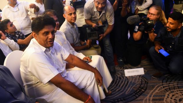 United National Party (UNP) and New Democratic Front presidential candidate Sajith Premadasa (left) in Colombo. Photograph: Ishara S Kodikara/AFP via Getty Images