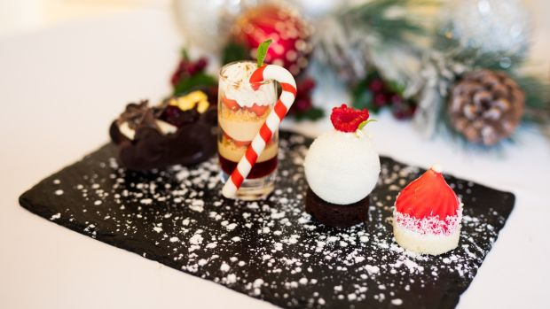 The Shelbourne: Festive treats include cranberry jelly with eggnog mousse, Black Forest gateau, dark chocolate mousse with orange gel and brownies.