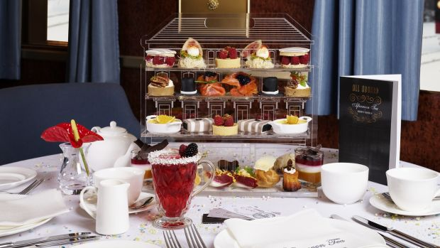 Brown Thomas: The entire decadent selection is presented on a tea stand replicating the facade of the Grafton Street store.