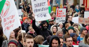 A demonstration in Dublin calling for anend to the direct provision system. Photograph: Tom Honan