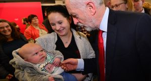 Labour leader Jeremy Corbyn meets Colin and mother after a speech at the University of Lancaster. Photograph: Anthony Devlin/Getty