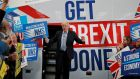 Britain's prime minister Boris Johnson on the election trail in Manchester on Friday. Photograph: Frank Augstein/Reuters